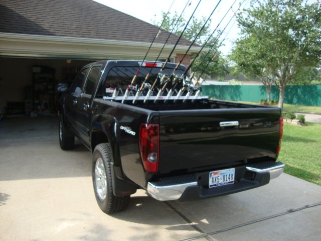 Truck bed surf rod holder chevrolet colorado gmc for Fishing rod rack for truck