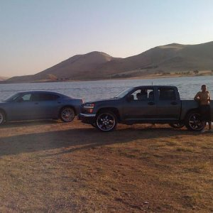 at da lake chillin with my cuzin n hes charger