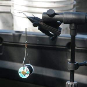 Fly-tying setup in the bed of my CHEVY COLORDO