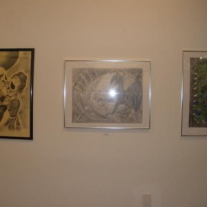 My drawing in an art show. Mine is in the middle.