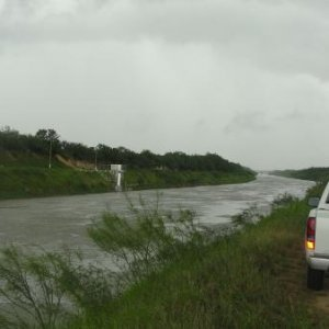 to a side of the Canal anzalduas, ramification of the rio grande river (border reynosa tamps mexico / mcallen tx)